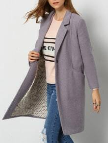 Grey Lapel Single Button Woolen Coat