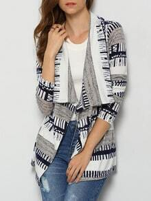 Navy Grey Long Sleeve Striped Coat