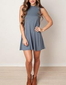 Grey Round Neck Sleeveless Tshirt Dress