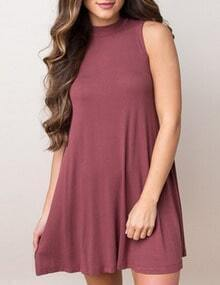 Brick Red Round Neck Sleeveless Tshirt Dress