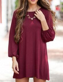Burgundy Long Sleeve Tshirt Dress