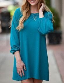 Blue Long Sleeve Tshirt Dress
