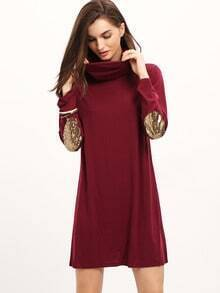 Burgundy Cowl Neck Metallic Elbow Dress