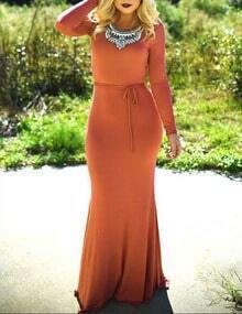 Orange Decorated Neckline Belt Maxi Dress