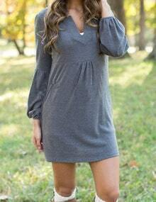 Women V Cut Puff Sleever Casual Dress
