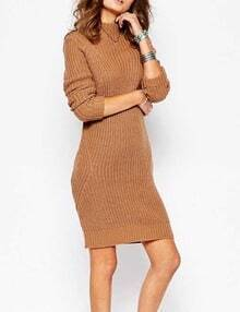 Camel Mock Neck Long Sleeve Sweater Dress