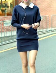 Blue Contrast Collar Batwing Sleeve Dress