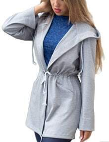 Women Grey Drawstring Hooded Coat