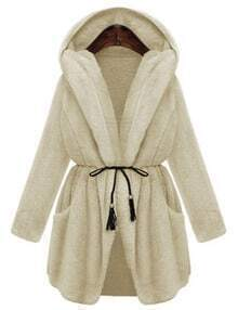 Beige Drawstring Hooded Thicken Coat