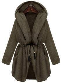 Grey Drawstring Hooded Thicken Coat