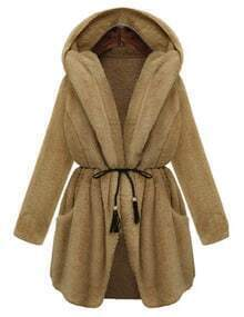 Khaki Drawstring Hooded Thicken Coat