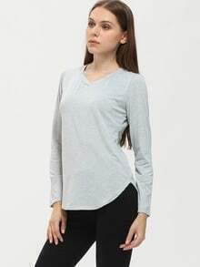 Grey V Neck Curve Hem Tshirt