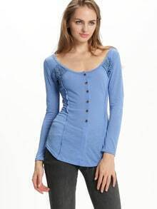 Blue U Neck Lace Embroidered Tshirt