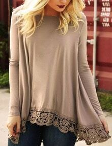Camel Lace Hem High Low Tshirt