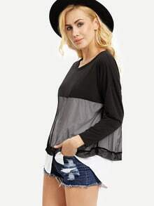 Black White Color Block Gauze Embellished Tshirt