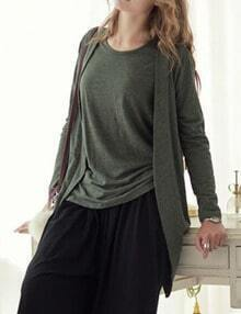 Army Green Vest With Casual Cardigan
