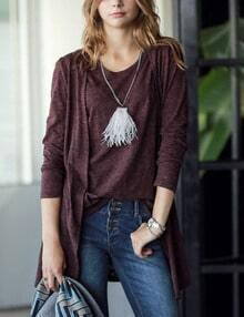 Burgundy Vest With Casual Cardigan