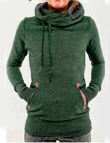 Green Drawstring Hooded Pocket Sweatshirt