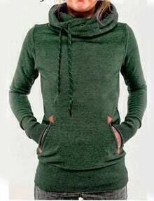 Green Drawstring Hooded Pocket Sweatshirt
