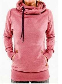 Pink Drawstring Hooded Pocket Sweatshirt