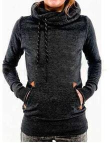 Black Drawstring Hooded Pocket Sweatshirt