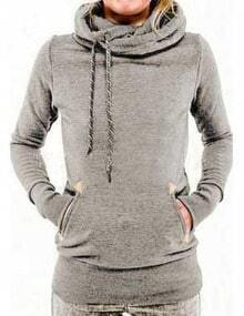 Grey Drawstring Hooded Pocket Sweatshirt