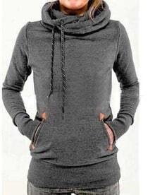 Deep Grey Drawstring Hooded Pocket Sweatshirt