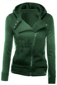Green Zipper Front Hooded Sweatshirt