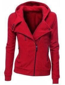 Red Zipper Front Hooded Sweatshirt