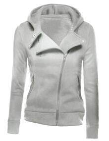 Ligh Grey Zipper Front Hooded Sweatshirt