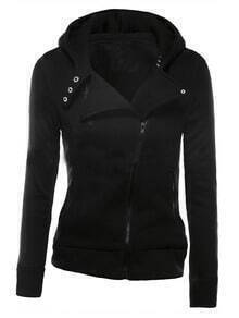 Black Zipper Front Hooded Sweatshirt