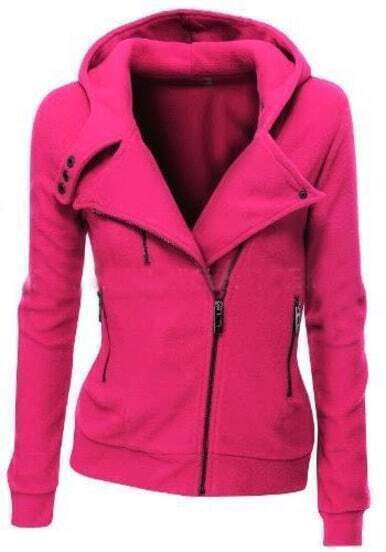 Hot Pink Zipper Front Hooded Sweatshirt