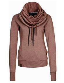 Brown Drawstring Hooded Sweatshirt
