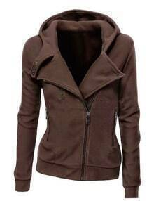 Brown Zipper Front Hooded Sweatshirt