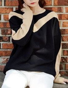 Women Black Color Block Sweatshirt