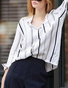 White Vertical Striped Boyfriend Shirt