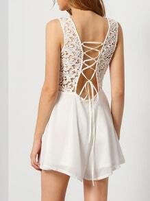 White Sleeveless With Lace Playsuit