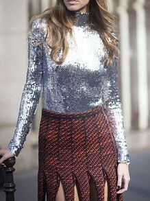 Sliver Long Sleeve High Neck Sequined Blouse