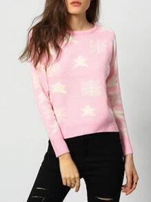 Pink Long Sleeve Snowflake Print Sweater