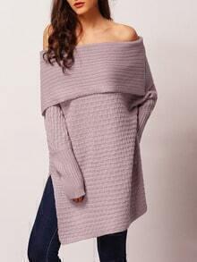 Purple Long Sleeve Off The Shoulder Split Sweater