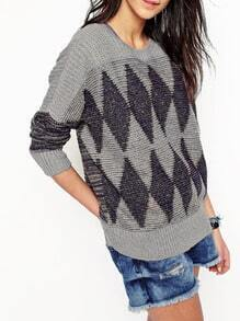 Grey Round Neck Geometric Print Sweater