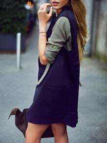 Navy Sleeveless Lapel Pockets Vest