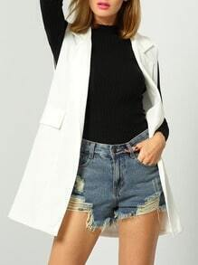 White Sleeveless Lapel Pockets Vest