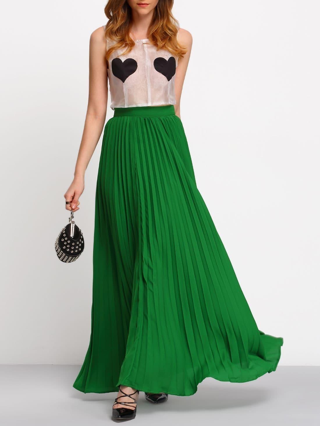 Green High Waist Pleated Maxi Skirt