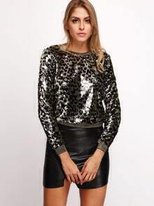 Black Long Sleeve Sequined Sweatshirt