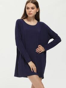 Navy Long Sleeve Casual Dress