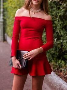 Red Long Sleeve Off The Shoulder Ruffle Dress
