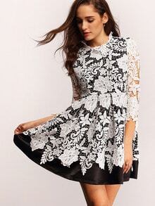 White Black Crochet Lace Flare Dress