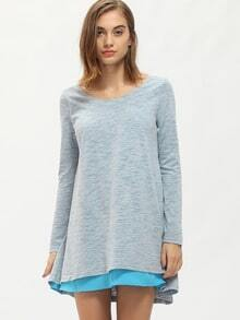 Grey Long Sleeve Round Neck Casual Dress
