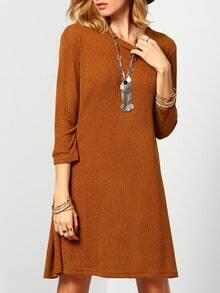 Brown Round Neck Casual Dress